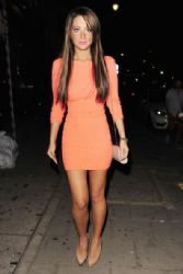 Tulisa Contostavlos seen with a group of friends for a night out at Jalouse in Mayfair, London