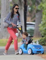 Jordana Brewster: pushes her son Julian in a car stroller in Brentwood