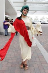 Adrianne Curry at Comic-Con as Raptor Jesus