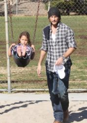 Gabriel Aubry with Daughter at Coldwater Park in Beverly Hills