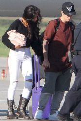 Selena Gomez & Justin Bieber Arriving At Waterloo Airport in Ontario, Canada