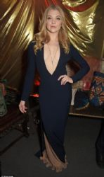Natalie Dormer displays her extreme cleavage in perilously plunging navy gown at the Game Of Thrones premiere afterparty