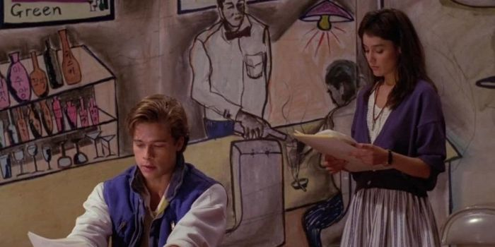 Brad Pitt and Jill Schoelen