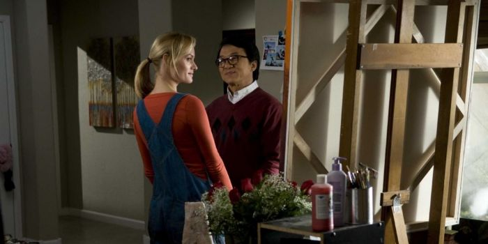 Amber Valletta and Jackie Chan